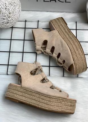 Босоножки канаты плетение плоская платформа танкетка шнуровка