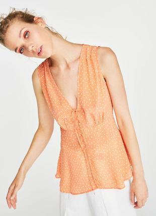 Оранжевая в горошек блузка uterque летняя