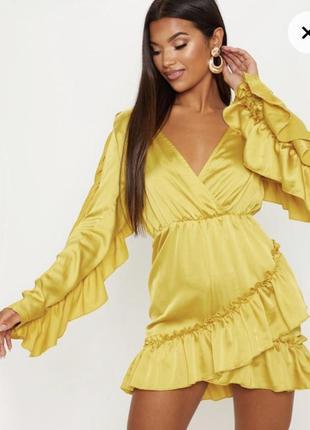 Платье желтое горчичное сатин
