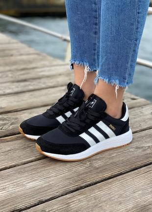 Женские кроссовки adidas iniki black/white