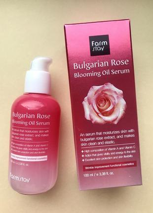 Сыворотка с болгарской розой farmstay bulgarian rose blooming oil serum, 100мл