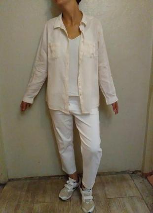 Рубашка,базовая,белая, пудра,нюд,лен, льяная,оверсайз