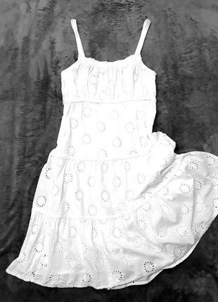 Kappahl белое платье сарафан пышное на подкладке прошва 40 пог 45 см