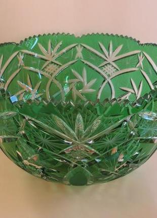 Хрустальная резная салатница конфетница гранённая граненая хрустальное стекло миска