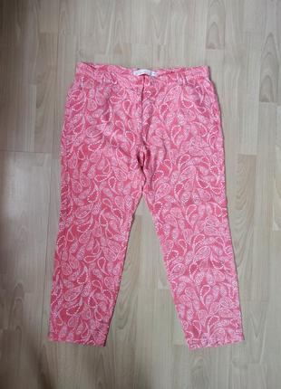 Льняной брюки коралового цвета принт пейсли огуречный принт