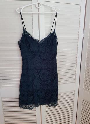 Изумрудное кружевное платье topshop