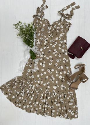 Льняной сарафан в цветок  perla
