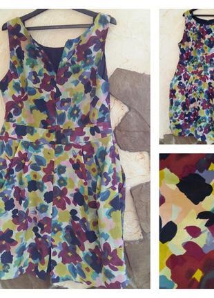 South 100% шелк платье на подкладе в акварельный принт l-xl