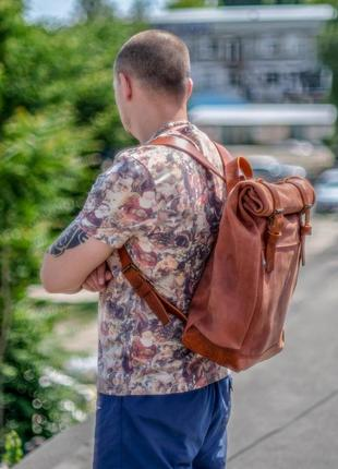 Рюкзак для путешествий, рюкзак в поход, рюкзак городской. натуральная кожа, цвет коньяк