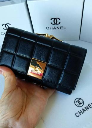 Кожаный женский кошелек черный