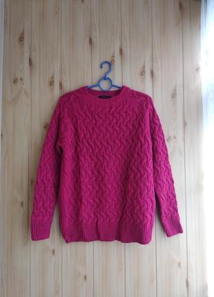 Малиновий теплий в'язаний светр на зиму