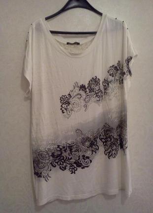Белая туника с кружевной спинкой в бохо стиле от snialin для пышных модниц пог 64/72см