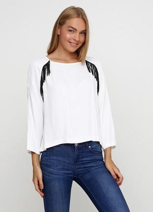 Белая однотонная блузка uterque