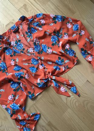 Шикарная укороченая блуза топ с рукавами фонариками