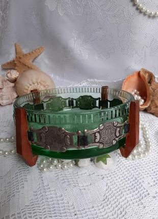 Конфетница ваза ссср салатник зеленое стекло в мельхиоре
