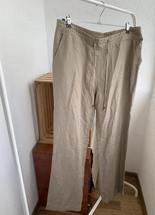 Брюки штаны палаццо широкие лён