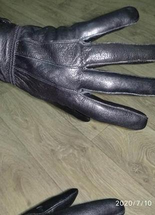 Перчатки кожаные женские м-l черные