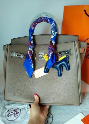 Кожаная сумка шоппер 35 см бежевая