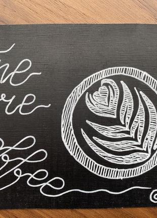 Картина рисунок графика one more coffee don.bacon чашка кофе латте арт чёрная