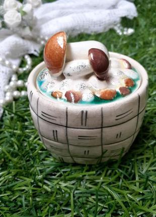 Шкатулка грибное лукошко зик конаково ссср масленка сахарница грибы фаянс глазурь