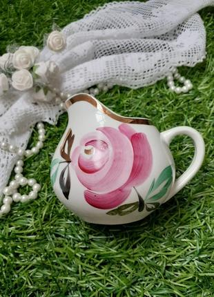 Сливочник соусник песочное фарфор ручная роспись роза позолота ссср 1972 первомайский