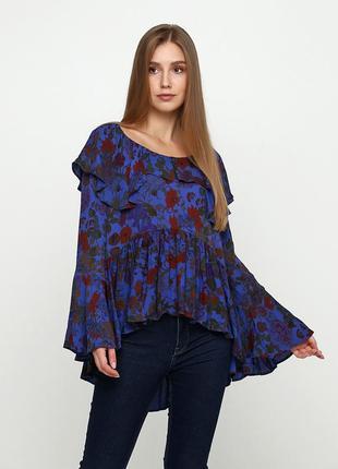Синяя цветочной расцветки блузка uterque