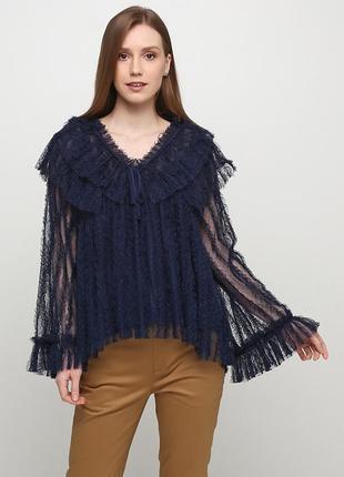 Темно-синяя блуза uterque