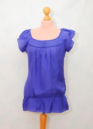 Шелк легкая шелковая блуза васильковая летняя натуральный шелк