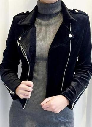 Молодежный велюровый пиджак куртка косуха