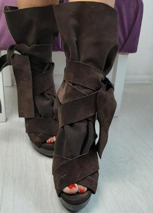 Chloe брендовые кожаные замшевые летние сапоги с открытым носком на каблуке