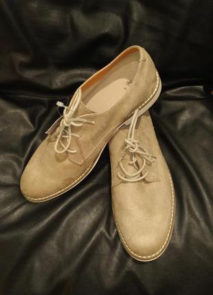 Туфли дерби мужские бежевые