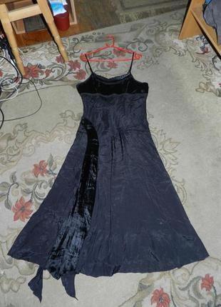 Натуральный,нарядный-вечерний,длинный сарафан-платье,пан-бархат,пайетки,волан,индия