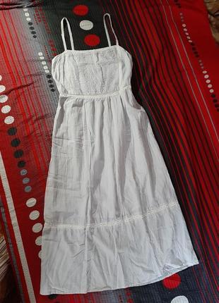 Коттоновое платье сарафан кружево на бретелях серое голубое