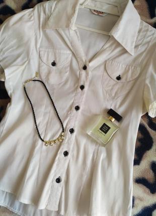 Красивенная нарядная белая блузочка с коротким рукавом 44 размера
