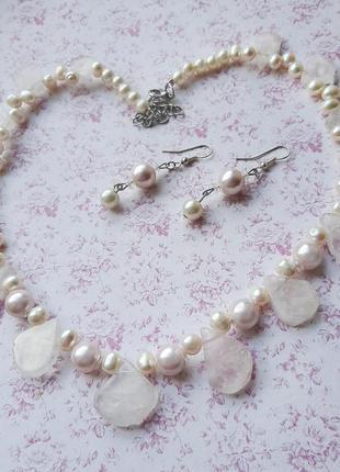 Комплект ожерелье колье серьги набор бусы серёжк розов кварц sunstone жемч бусин