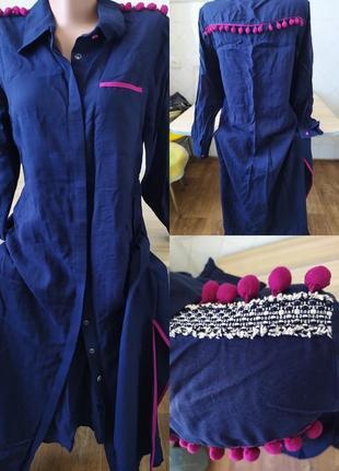 Турция .стильное платье рубашка темно синего цвета с необычными акцентами.