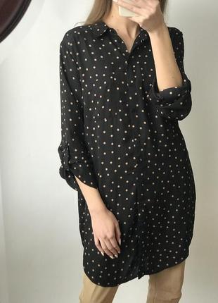 Платье рубашка мини короткое пуговицах прямое оверсайз широкое горох базовое винтаж