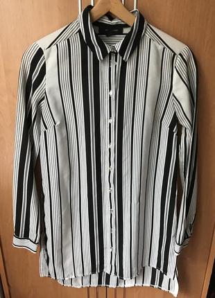 Платье рубашка в полоску ,черно белая рубашка платье
