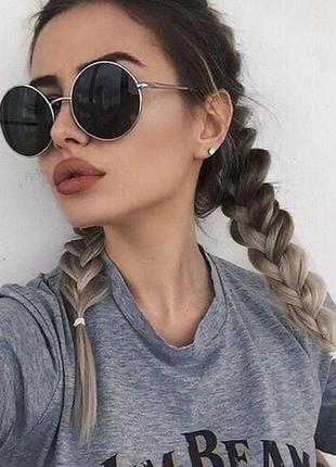 Солнцезащитные очки круглые черные стеклянные в металлической оправе унисекс гарри поттера