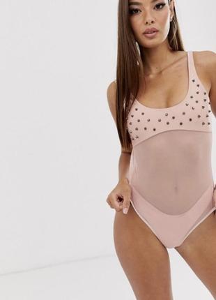 Розовый слитный купальник candy pants