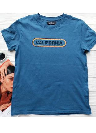 Синяя голубая хлопковая футболка bershka с надписью текстом california