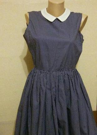Платье с воротничком в мелкий горошек стиль ретро 60-е пин ап pin ap