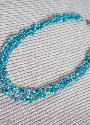 Ожерелье бирюз вязан ручн работы бисер голуб колье чокер на шею нить украшения