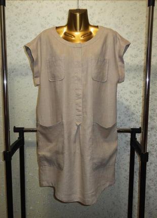 Платье рубашка mango suit индонезия лен бохо кокон р. s m льняное