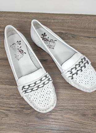 Фирменные кожаные туфли мокасины с перфорацией rieker antistress