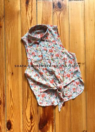 Красивая  легкая блуза безрукавка на завязках под шифон с цветами
