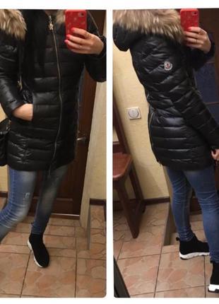 Пуховик куртка moncler мех енот натуральный