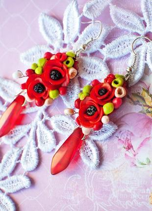 Цветочн серьги красные цвет полимерн серёжки салат розы яркие украшен hand