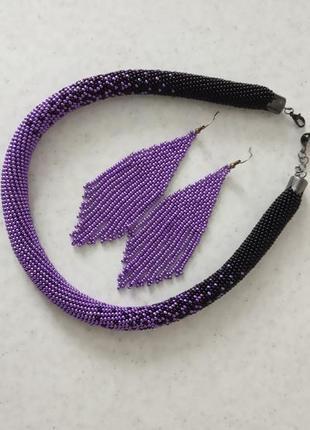 """Комплект """" фиолетовое сияние"""" - жгут и сережки"""