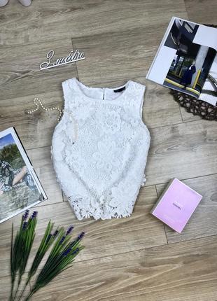Topshop шикарный нарядный кружевной белый топ блуза 🔥